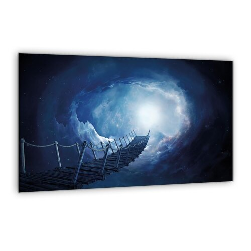 Herdabdeckplatte 80x52 Ceranfeld Spritzschutz Glas Universal Deko Abstrakt Blau