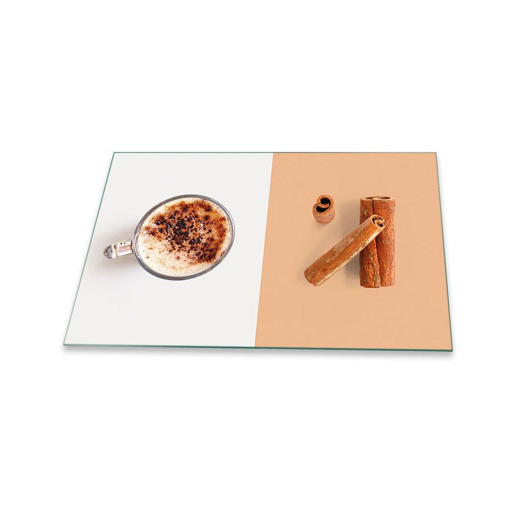 Herdabdeckplatte Ceranfeld Spritzschutz Glas Universal Deko 80x52 Kaffee Braun