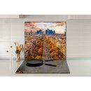 Küchenrückwand 65x60 Glas 65x60 Spritzschutz Herd Spüle Fliesenschutz Deko Stadt Beige