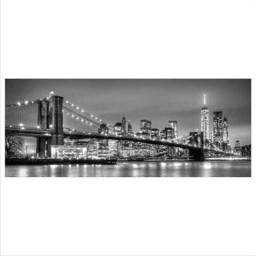 Glasbild 125x50 XL New York Schwarz Weiß Panorama Wandbild Glasbilder Deko Glas