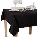 Tischdecke Abwaschbares Tischtuch Schmutzabweisend Tischdeko 140x180cm Schwarz