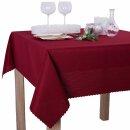 Tischdecke Abwaschbares Tischtuch Schmutzabweisend Tischdeko 140x220cm Dunkelrot