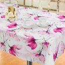 Tischdecke Abwaschbares Tischtuch Leinenoptik Schmutzabweisend 150x350cm Rosa