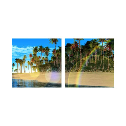 Strand 50x50cm 2 Glasbilder Glasbild Echtglas Wandbild Deko