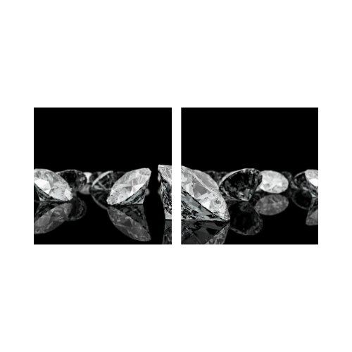 Diamanten 50x50cm 2 Glasbilder Glasbild Echtglas Wandbild Deko