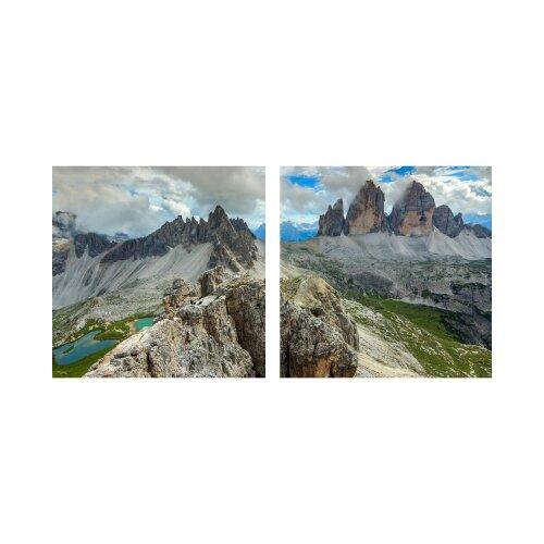 Berge 50x50cm 2 Glasbilder Glasbild Echtglas Wandbild Deko
