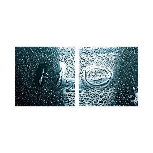 Regen 50x50cm 2 Glasbilder Glasbild Echtglas Wandbild Deko