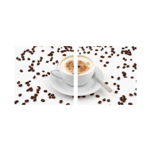 Kaffee 50x50cm 2 Glasbilder Glasbild Echtglas Wandbild Deko