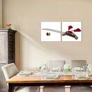 Messer 50x50cm 2 Glasbilder Glasbild Echtglas Wandbild Deko