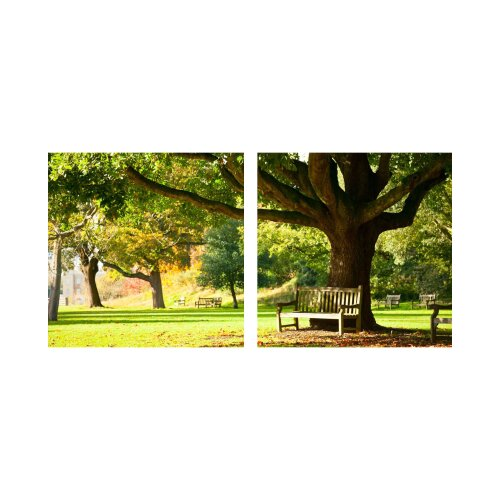 Park 50x50cm 2 Glasbilder Glasbild Echtglas Wandbild Deko