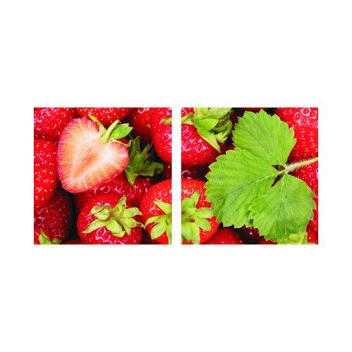 Erdbeere 50x50cm 2 Glasbilder Glasbild Echtglas Wandbild Deko