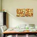 Erdnüsse 50x50cm 2 Glasbilder Glasbild Echtglas Wandbild Deko