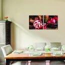 Granatapfel 50x50cm 2 Glasbilder Glasbild Echtglas Wandbild Deko