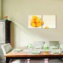 Mandarinen 50x50cm 2 Glasbilder Glasbild Echtglas Wandbild Deko