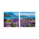Lavendel 50x50cm 2 Glasbilder Glasbild Echtglas Wandbild...