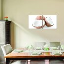 Kokosnuss 50x50cm 2 Glasbilder Glasbild Echtglas Wandbild Deko