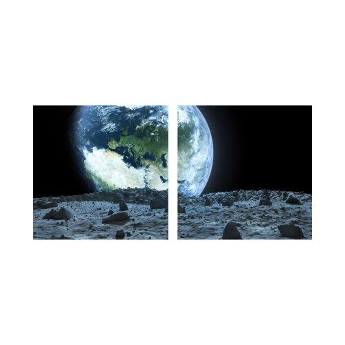 Mond 50x50cm 2 Glasbilder Glasbild Echtglas Wandbild Deko