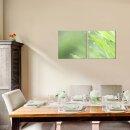 Rasen 50x50cm 2 Glasbilder Glasbild Echtglas Wandbild Deko