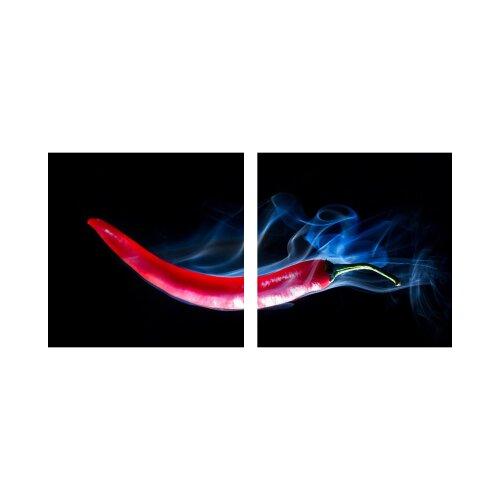 Paprika 50x50cm 2 Glasbilder Glasbild Echtglas Wandbild Deko