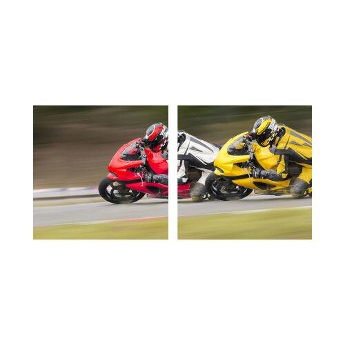 Motorradfahrer 50x50cm 2 Glasbilder Glasbild Echtglas Wandbild Deko