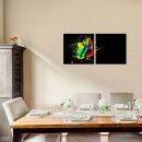 Zeichnung 50x50cm 2 Glasbilder Glasbild Echtglas Wandbild Deko