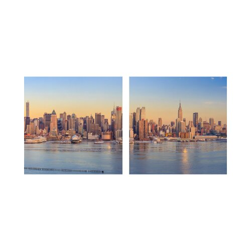 Stadt 50x50cm 2 Glasbilder Glasbild Echtglas Wandbild Deko