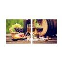 Weintraube 50x50cm 2 Glasbilder Glasbild Echtglas...