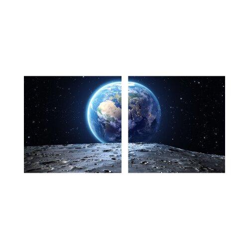 Erde 50x50cm 2 Glasbilder Glasbild Echtglas Wandbild Deko