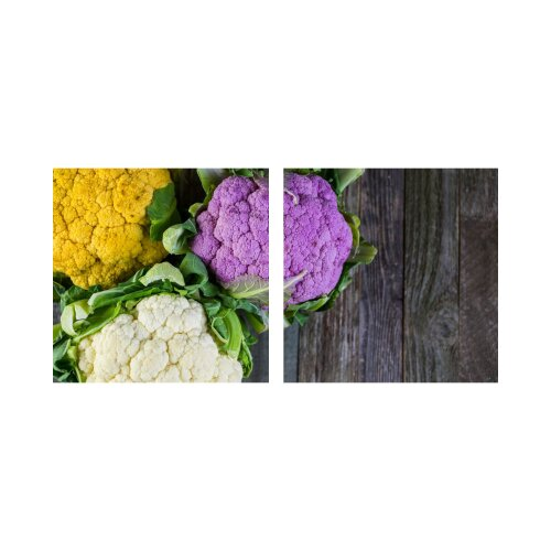 Gemüse 50x50cm 2 Glasbilder Glasbild Echtglas Wandbild Deko