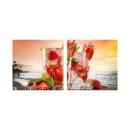 Erdbeere 50x50cm 2 Glasbilder Glasbild Echtglas Wandbild...