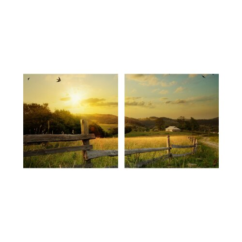 Feld 50x50cm 2 Glasbilder Glasbild Echtglas Wandbild Deko