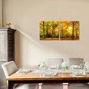 Wald 50x50cm 2 Glasbilder Glasbild Echtglas Wandbild Deko