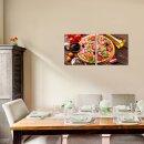 Pizza 50x50cm 2 Glasbilder Glasbild Echtglas Wandbild Deko
