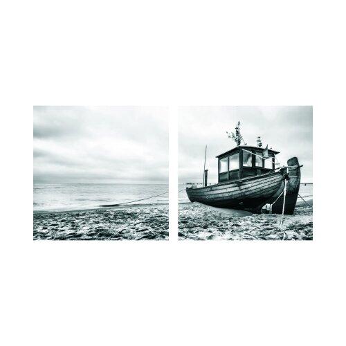 Boot 50x50cm 2 Glasbilder Glasbild Echtglas Wandbild Deko