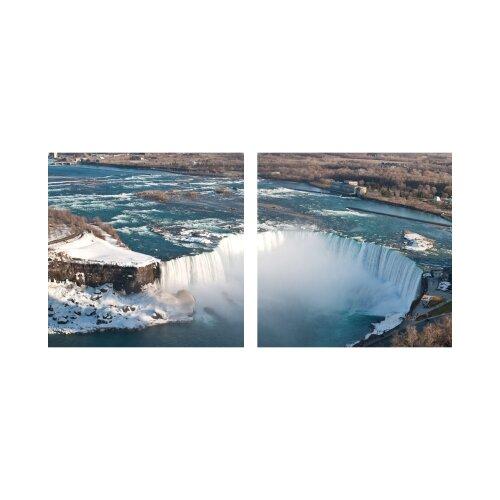 Wasserfall 50x50cm 2 Glasbilder Glasbild Echtglas Wandbild Deko