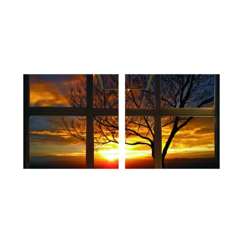 Sonnenuntergang 50x50cm 2 Glasbilder Glasbild Echtglas Wandbild Deko