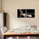 Sanduhr 50x50cm 2 Glasbilder Glasbild Echtglas Wandbild Deko