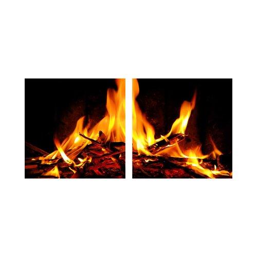 Feuer 50x50cm 2 Glasbilder Glasbild Echtglas Wandbild Deko
