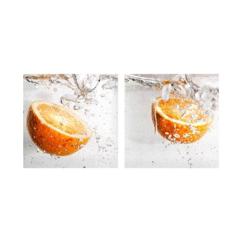 Orangen 50x50cm 2 Glasbilder Glasbild Echtglas Wandbild Deko