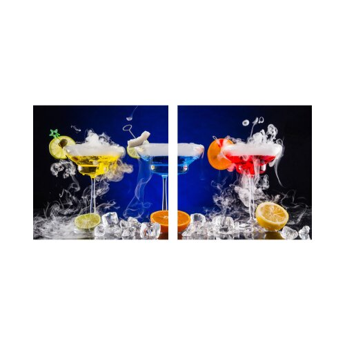 Drink 50x50cm 2 Glasbilder Glasbild Echtglas Wandbild Deko