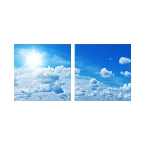 Wolken 50x50cm 2 Glasbilder Glasbild Echtglas Wandbild Deko