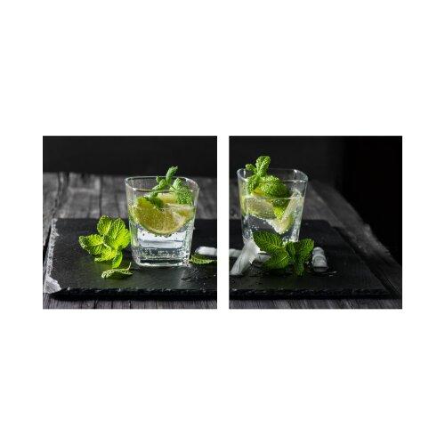 Limette 50x50cm 2 Glasbilder Glasbild Echtglas Wandbild Deko