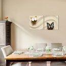 Schmetterlinge 50x50cm 2 Glasbilder Glasbild Echtglas Wandbild Deko