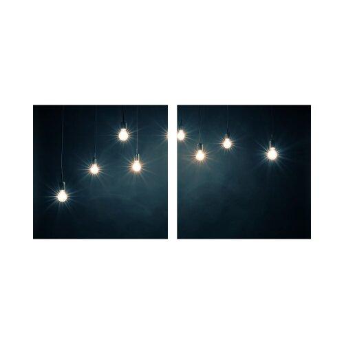 Glühbirne 50x50cm 2 Glasbilder Glasbild Echtglas Wandbild Deko