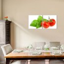 Tomate 50x50cm 2 Glasbilder Glasbild Echtglas Wandbild Deko