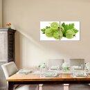 Stachelbeere 50x50cm 2 Glasbilder Glasbild Echtglas Wandbild Deko