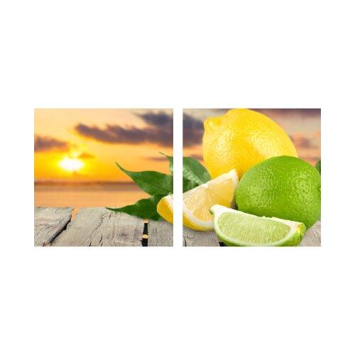 Zitrone 50x50cm 2 Glasbilder Glasbild Echtglas Wandbild Deko