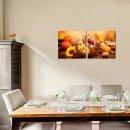 Weintraube 50x50cm 2 Glasbilder Glasbild Echtglas Wandbild Deko