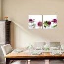Rose 50x50cm 2 Glasbilder Glasbild Echtglas Wandbild Deko