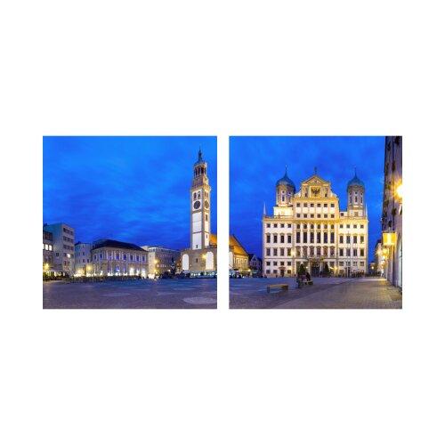 Gebäude 50x50cm 2 Glasbilder Glasbild Echtglas Wandbild Deko